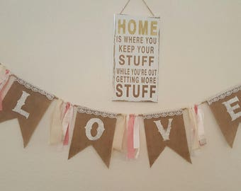 "Burlap and lace ""LOVE"" Banner"