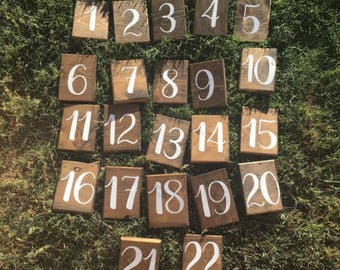 Rustic wedding table number signs ~ decor ~ shabby chic ~ outdoor wedding ~ barn ~ farmhouse ~