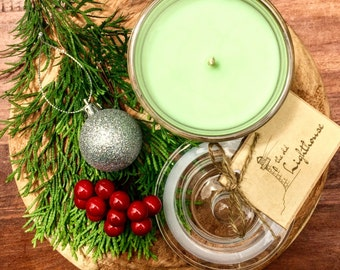 Christmas Tree Scented Premium Natural Soy Wax Container Candle In Large Apothecary Glass Jar With Lid