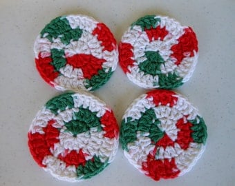 Crochet Christmas Coasters Set of Four