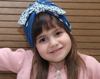 blue knot turban,girl hat, fashion turban, toddler head wrap, girl turban headband, girl turban, toddler turban hat, girl turban headband