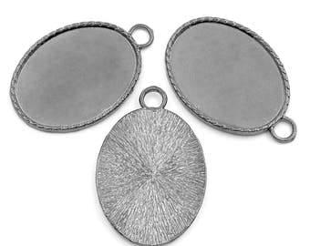2 Gunmetal Oval Cabochon Tray Pendant Settings 5.1cm x 3.4cm  (B167g)