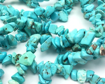 20 Pcs - Natural Turquoise Stone Chip Beads, Teal, Blue, Bracelet, Jewelry Making, Bracelet Beads, Crafting (B055)