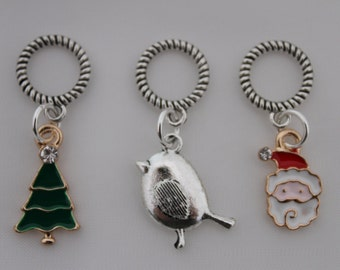 Set of Three Festive Stitch Markers for knitting for needles up to 8 mm.