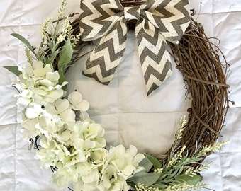 Spring Grapevine Wreath, Hydrangea Wreath, Front Door Wreath, Year Round Wreath, Farmhouse Wreath, Easter, Summer Wreath