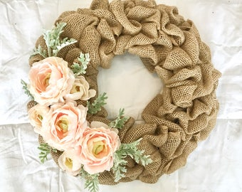 Blush Pink Ranunculus and Dusty Miller Wreath, Burlap Wreath, Spring Wreath, Summer Wreath, Mother's Day Wreath, Front Door Wreath, Cottage