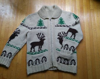 Vtg 1950s handknit Mary Maxim Cowichan 100% wool sweater in good vintage condition.