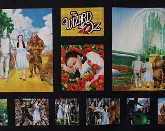quilting treasures ~ WIZARD of OZ PANEL ~ fabric dorothy emerald city yellow brick road fabric
