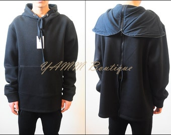Black Men's Oversized Hoodie Two Way Zip System Through The Back&Hood