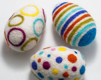 Multicolored wool eggs Set of 3 Needle felted eggs Holiday decor Childrens toys Nursery home decor