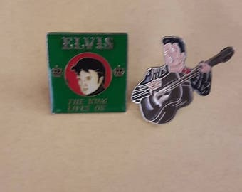 Elvis Presley lot of 2 vintage 80s Pins NEW Rockabilly Rock N Roll Chuck Berry