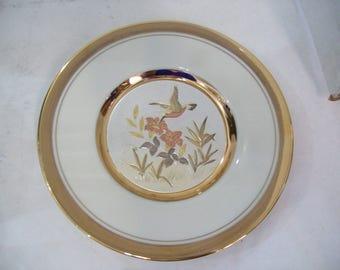 "Chokin 6.5"" 24K Gold Trimmed Hummingbird Plate, Free Shipping"