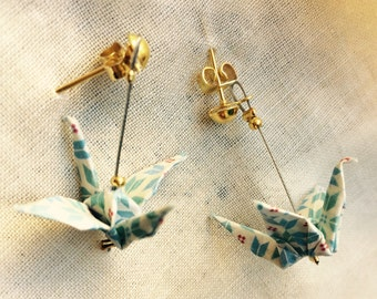 """Vintage"" white, blue and gold origami bird earrings jewelry"