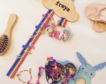 Personalised Rainbow Hair Clip Hanger || Cloud Hair Clip Hanger || Hair Accesory Tidy || Hair Bow Tidy || Girls Room Decor ||