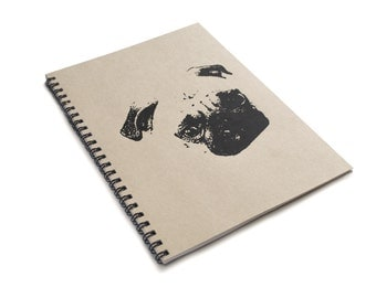 Pug Kraft A5 Spiral Notebook