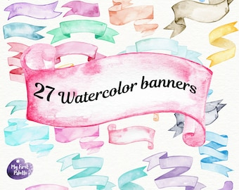 Watercolor banners  clipart - Birthday, Holiday, Party, Celebration, 400 dpi PNG on transparent background for scrapbooking, DIY cards