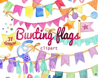 Watercolor Bunting Flags clipart - Birthday, Holiday, Party, Celebration, 400 dpi PNG on transparent background for scrapbooking, DIY cards