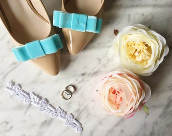 Bow Shoe Clips, Light Blue Velvet Shoe Clips, Bridal Shoe Accessories, Pastel Blue Bow, Prom Shoe Clips, Shoe Embellishments
