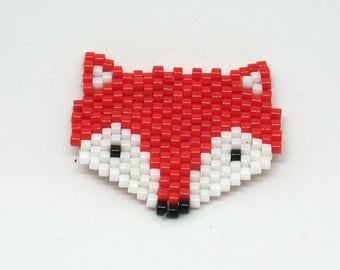 Fox brooch - Fox - Fox in miyuki beads - jewelry long necklace beads woven