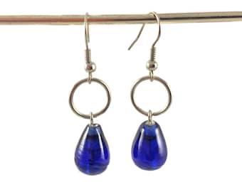 Glass tear drop earrings