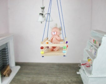 Dollhouse miniatures, miniature 1zu12, baby swing toys for the child's Doll House.