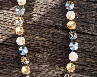 Beautiful Swarovski Crystal golden shadow tones with leopard print