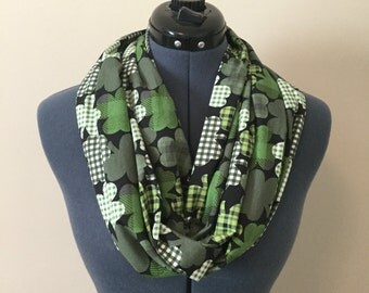 Green Plaid Shamrock Infinity Scarf / Green / St. Patrick's Day / Scarf / Irish / Plaid / Infinity Scarf / Holiday / Saint Patrick's Day