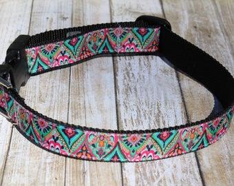 Designer Inspired Dog Collar - Designer Dog Leash - Girl Dog Harness - Teal and Pink Dog Collar - Aztec Dog Collar - Preppy Dog Collar