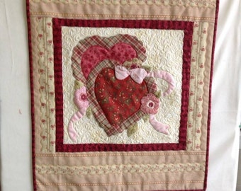 Hand Appliqued and Quilted Heart Wall Hanging
