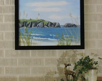 Yaquina Head Light House in June Original Art Seascape Pastel Painting