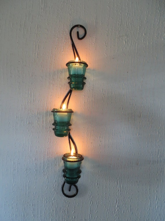 Glass insulator candle holder light sconce antique insulator for Insulator candle holder