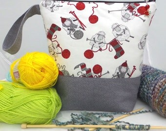Knitting Project Bag, Counting Sheep Project Bag, Padded Knitting Tote,  Crochet Project Bag, Wedge Knitting Bag