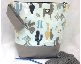 Large LLama Project Bag, Knitting Tote,  Knitting Bag, Crochet Tote, Craft Project Tote, WIP Bag, Sock Project Bag, Utility Bag