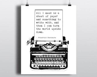 Printable Friedrich Nietzsche Quote, Vintage Typewriter Graphic, Literary Art Print, DIY Gift for Writers, Instant Digital Download