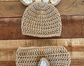 crochet newborn deer diaper cover and hat set, baby photo prop, baby hat, baby deer hat, baby shower gift, gift for hunter