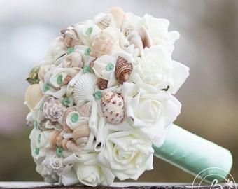 Mint green wedding bouquet, beach bouquet, bridal bouquet with seashells, seashell bouquet, shell wedding bouquet, mint green pins