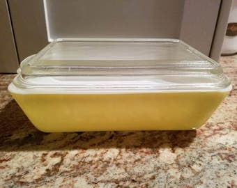 Pyrex Refrigerator dish with lid #503~1.5 Qt. Casserole~ PRIMARY YELLOW