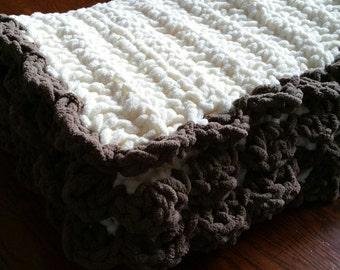 Chunky Plush Crochet Baby Blanket Tummy Time Play Mat Neutral Stroller Blanket Fuzzy, Warm, Soft Baby Girl Baby Boy. READY TO SHIP.