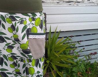 Women's Skirt Short Skirt Olive Skirt Retro Printed Cotton Mini Skirt Pocket Skirt Lace Pegged Skirt Ooak Skirt Australian Made High Waisted