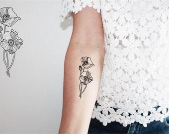 Tattoo fleur sauvage etsy - Tatouage coquelicot noir ...