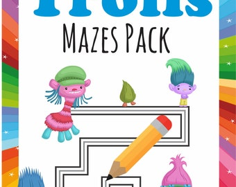 Trolls Mazes Printables  Birthday Party Favor