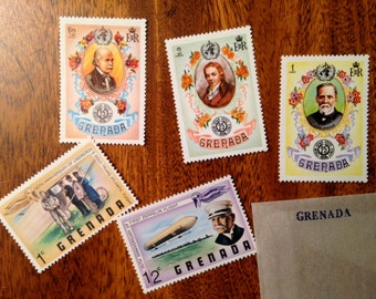 Vintage Int'l Postage Stamps - US, San Marino, Fujeira, Nicaragua, Grenada 1970s