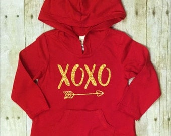 Valentines Day Shirt-Baby Hoodie-Red-Gold Glitter-XOXO Valentines Day Shirt-Toddler Valentines Day Shirt