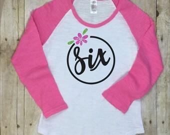 Six Birthday Shirt-Sixth Birthday Shirt-6th Birthday Shirt-Girls Pink Birthday Shirt-Girls Black Birthday Shirt-Birthday Photo Shirt-