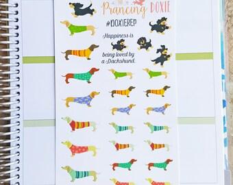 Dachshund }} stickers .. Planner Stickers . ECLP . Erin Condren LifePlanner™ . 25+ stickers . Doxie . Weiner Dog