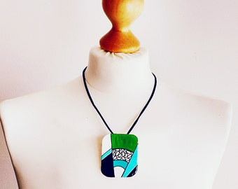 Jewelry geometric, necklace geometric, necklace modern, necklace grass green, necklace turquoise, necklace black white, gift women