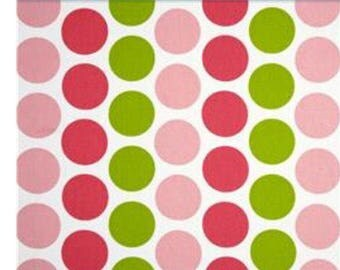 Light pink, hot pink green polka dots