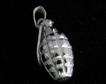 Silver Hand Grenade Pendant