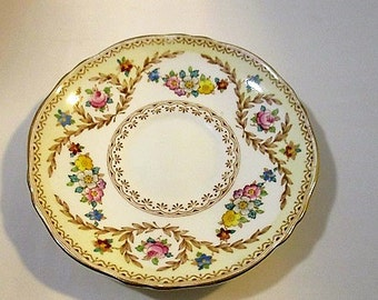 Crown Staffordshire, Replacement Saucer, Fine Bone China, Flowers and Laurel, Pattern F15744, 1930's