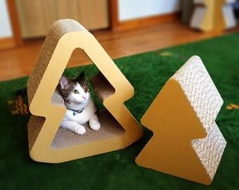 Nesting Cat Scratcher in Tree Shape, Unique Modern Cat Furniture, Cardboard Cat Playhouse, Cat Tunnel, Gift for Cat Lovers, Cat Tree, DIY
